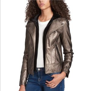 Tommy Hilfiger XS Metallic Moto Leather Jacket NEW